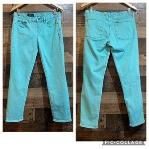 J Crew Mint Light Blue Toothpick Ankle Jeans Sz 31